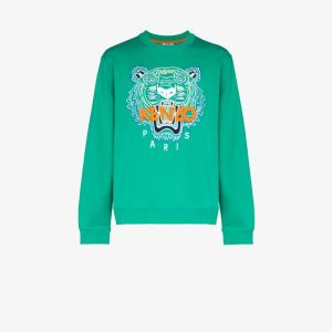 Kenzo Mens Green Tiger Logo Cotton Sweatshirt