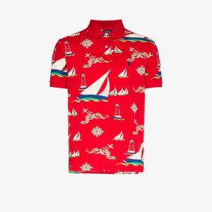 Polo Ralph Lauren Mens Red Boat Print Polo Shirt