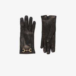 Gucci Womens Black Horsebit Leather Gloves