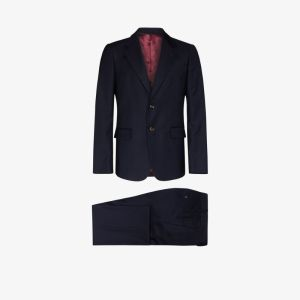 Gucci Mens Blue Two Piece Stretch Wool Suit