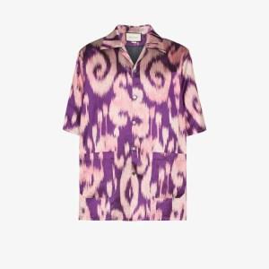 Gucci Mens Purple Swirl Print Bowling Shirt