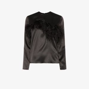 Marques'almeida Womens Black Feather Trim Satin Blouse
