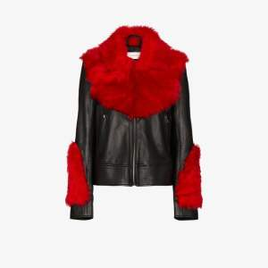 Marques'almeida Womens Black Shearling Leather Aviator Jacket