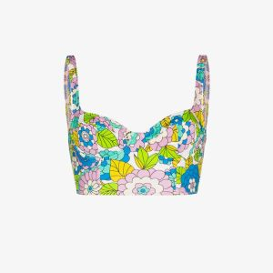 Dodo Bar Or Womens Multicolour Willie Floral Cropped Bikini Top
