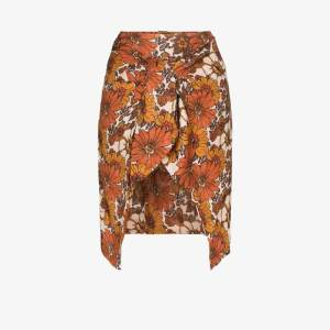 Dodo Bar Or Womens Orange Mosa Floral Wrap Mini Skirt