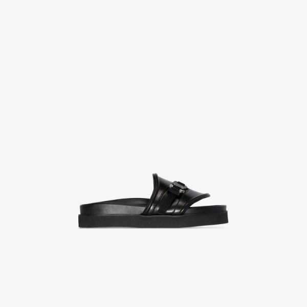 1017 Alyx 9sm Womens Black Leather Buckle Slides