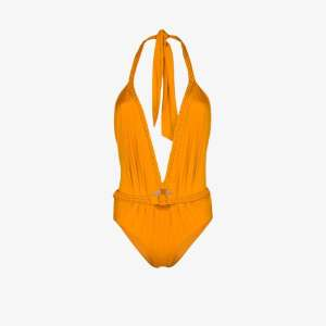 Johanna Ortiz Womens Orange Romantic Sun Halterneck Swimsuit