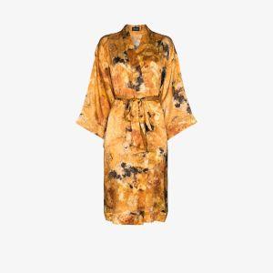 Märta Larsson Womens Yellow Rossellini Silk Kimono Robe