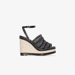Alaïa Womens Black 140 Studded Leather And Mesh Espadrille Wedges