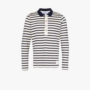 Linder Mens White Striped Cotton Rugby Shirt