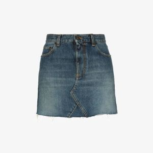 Saint Laurent Womens Blue Raw Edge Denim Mini Skirt
