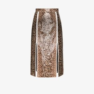 Fendi Womens Brown Python Print Ff Logo Midi Skirt
