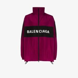 Balenciaga Mens Purple Two Tone Logo Track Jacket