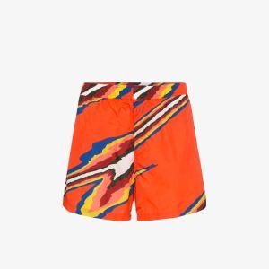 Missoni Mens Red Mare Stripe Print Swim Shorts