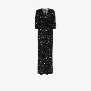 Bytimo Womens Black Star Print Belted Jumpsuit