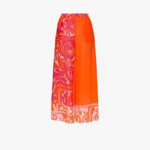 Emilio Pucci Womens Orange Wide Leg Printed Beach Trousers