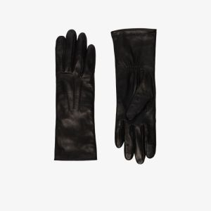Agnelle Womens Black Grace Tactile Leather Gloves