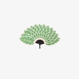 Pubumésu Womens Green Leaf Fan