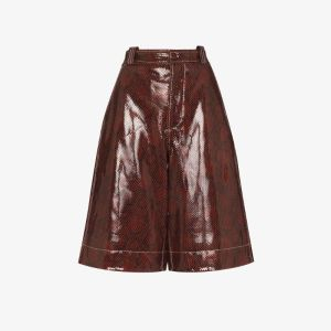Ganni Womens Brown Python Print Patent Leather Shorts