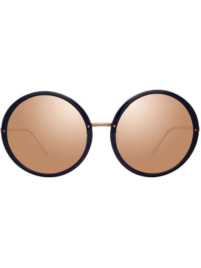 Image 1 of Linda Farrow mirrored round-frame sunglasses