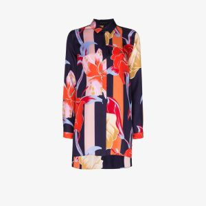 Etro Womens Blue Oversized Floral Print Silk Shirt