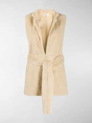 The Row belted fur gilet