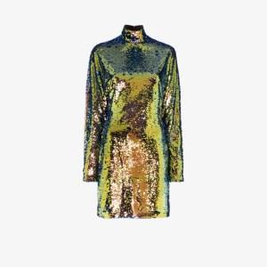 Rta Womens Yellow Ansel Sequin Mini Dress