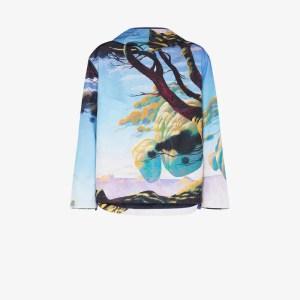Valentino Mens Blue Floating Island Print Hooded Parka