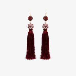 Rosantica Womens Red Optic Tassel Bead Drop Earrings