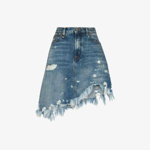 R13 Womens Blue Jasper Asymmetric Distressed Denim Skirt