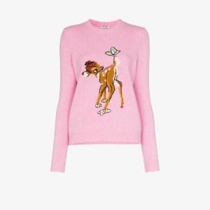 Miu Miu Womens Pink Bambi Wool Sweater