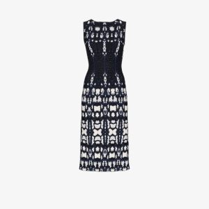 Alaïa Womens Blue Printed Sleeveless Midi Dress