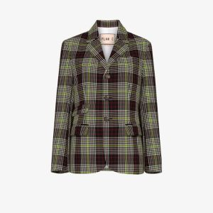 Plan C Womens Black Checked Single-breasted Blazer