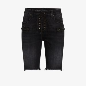 Unravel Project Womens Black Lace-up Knee-length Shorts