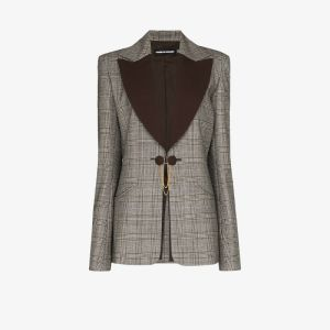 House Of Holland Womens Brown Contrast Lapel Checked Wool Blazer