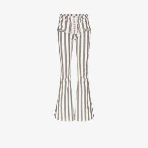 Unravel Project Womens Black Lace-up Stripe Flared Trousers