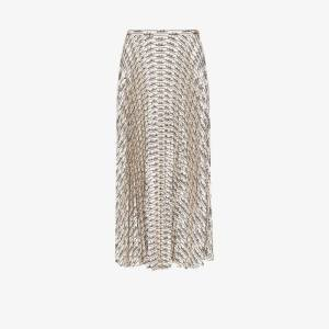 Valentino Womens White Signature Print Pleated Silk Midi Skirt