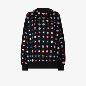 Ashish Womens Black Mirror Embroidered Hoodie