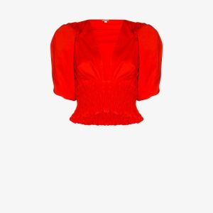 Johanna Ortiz Womens Red Playful Vision Cropped Cotton Blouse