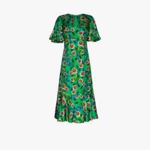 Borgo De Nor Womens Green Vivian Printed Ruffle Silk Midi Dress