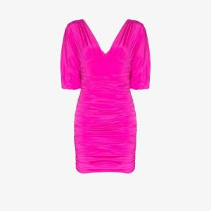 Alexandre Vauthier Womens Pink Gathered Stretch Silk Mini Dress