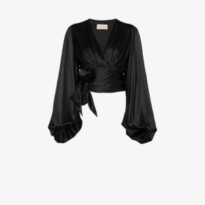 Alexandre Vauthier Womens Black Balloon Sleeve Silk Blouse