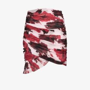 Alexandre Vauthier Womens Red Floral Print Ruched Skirt