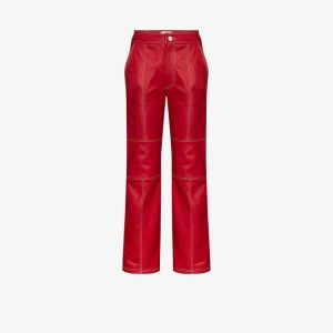 Kirin Womens Red Straight Fit Leather Trousers