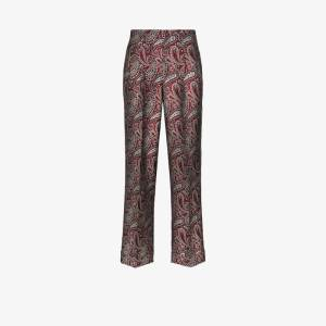Golden Goose Womens Red Sally Straight Leg Paisley Trousers