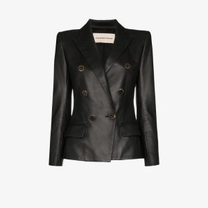 Alexandre Vauthier Womens Black Double-breasted Leather Blazer