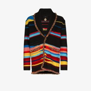 Alanui Mens Black Sarape Stripe Cashmere Cardigan