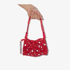 Susan Fang Womens Red Bubble Net Mini Shoulder Bag