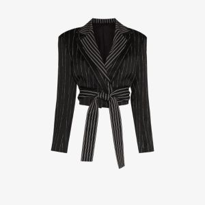 Unravel Project Womens Black Striped Reversible Cropped Blazer
