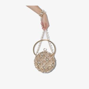 Rosantica Womens Metallic Beige And Gold Tone Ines Embellished Velvet Mini Bag